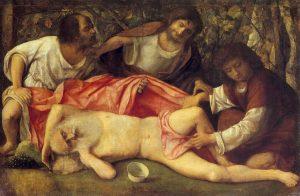 The Drunkenness of Noah by Giovanni Bellini, c. 1515 [Musée des Beaux-Arts et d'archéologie de Besançon, France]