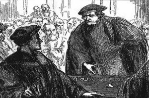 Luther and Zwingli heatedly disagreeing on the Eucharist